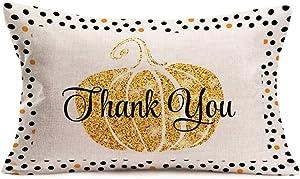 Doitely Fall Decor Pumpkin Thank You Quote Pillow Covers Black Polka Dot Lumbar Waist Cotton Linen Throw Pillow Case Cushion Cover Thanksgiving Decorative Rectangle 12x20 Inches (AFG19)
