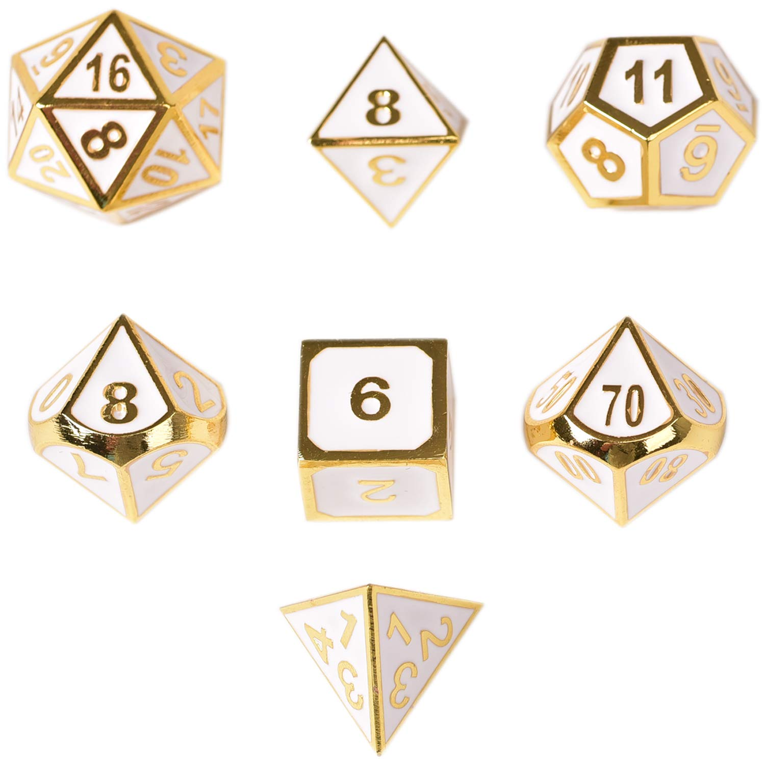 DND Dice Metal Polyhedral Dice 7pc Set Dungeons Dragons DND RPG MTG Table Games Math Teaching ( Gold White)