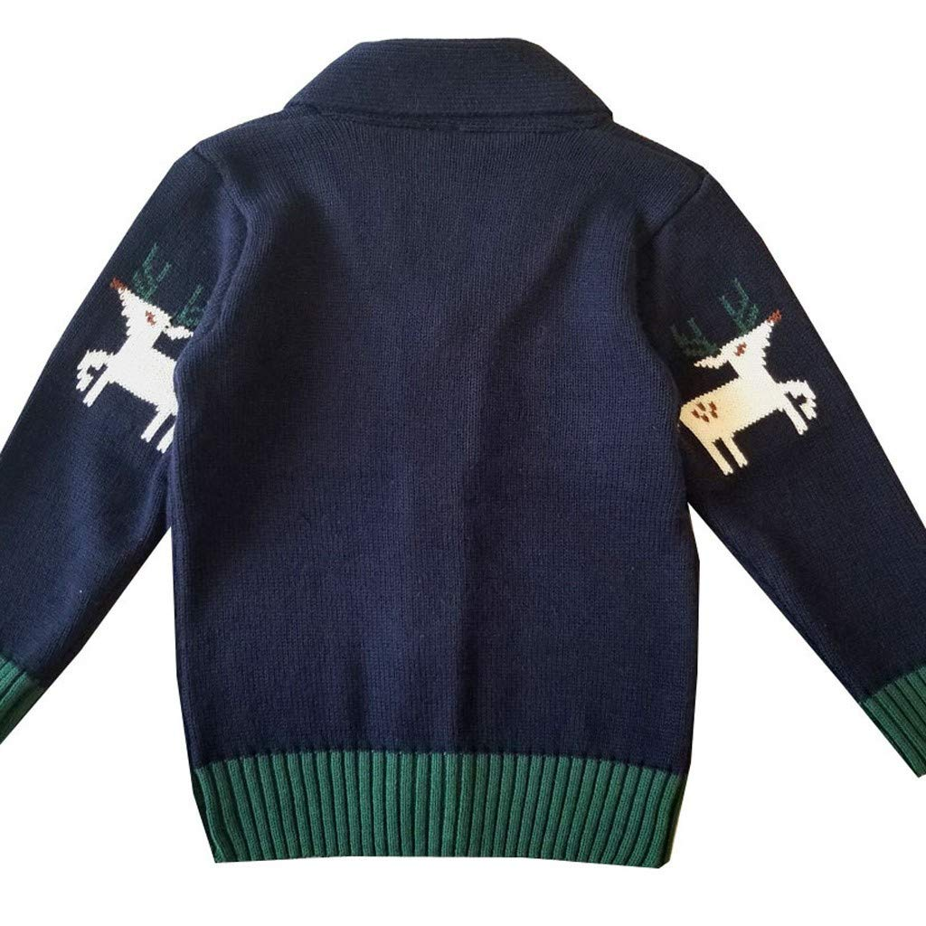 Amaone Xmas Baby Cardigan Jackets 0-5Years Old Girl Boy Kids Coat Christmas Reindeer Button-Up Sweater Outwear