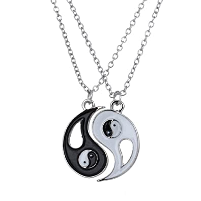 18c107e438 Amazon.com: Chandria's Treasures Yin Yang Puzzle Necklace 2 Piece ...