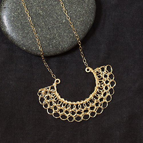 Handmade Half Circle Filigree Pendant Necklace in 14k Gold Filled Woven Wire Crochet Jewelry
