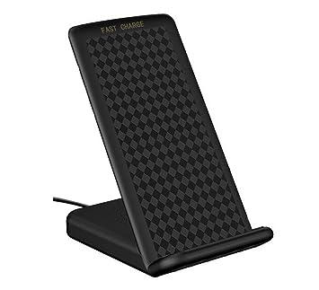 Cargador Inalámbrico Rápido, 2 bobinas Qi Cargador Soporte de Carga Inalámbrica Rápida Cargador de Teléfono Inalámbrico para Samsung Galaxy Note 8 S8 ...