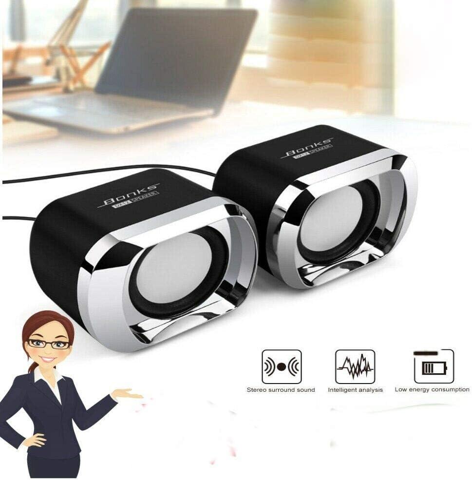 DishyKooker Mini Altavoz para Ordenador USB, Entrada AUX, Jack de 3,5 mm, para Ordenador de sobremesa, est/éreo, con Sonido, subwoofer