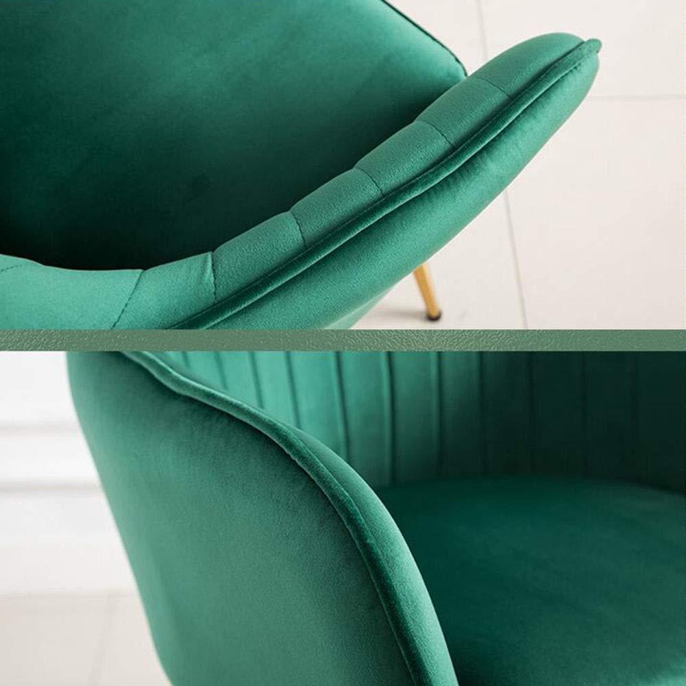 JIEER-C fritidsstol matrumsstol stoppad Nordic Leisure ryggstöd soffstol metallben vardagsrum sovrum lätt att montera 50 x 46 x 84 cm hållbar stark GRÖN