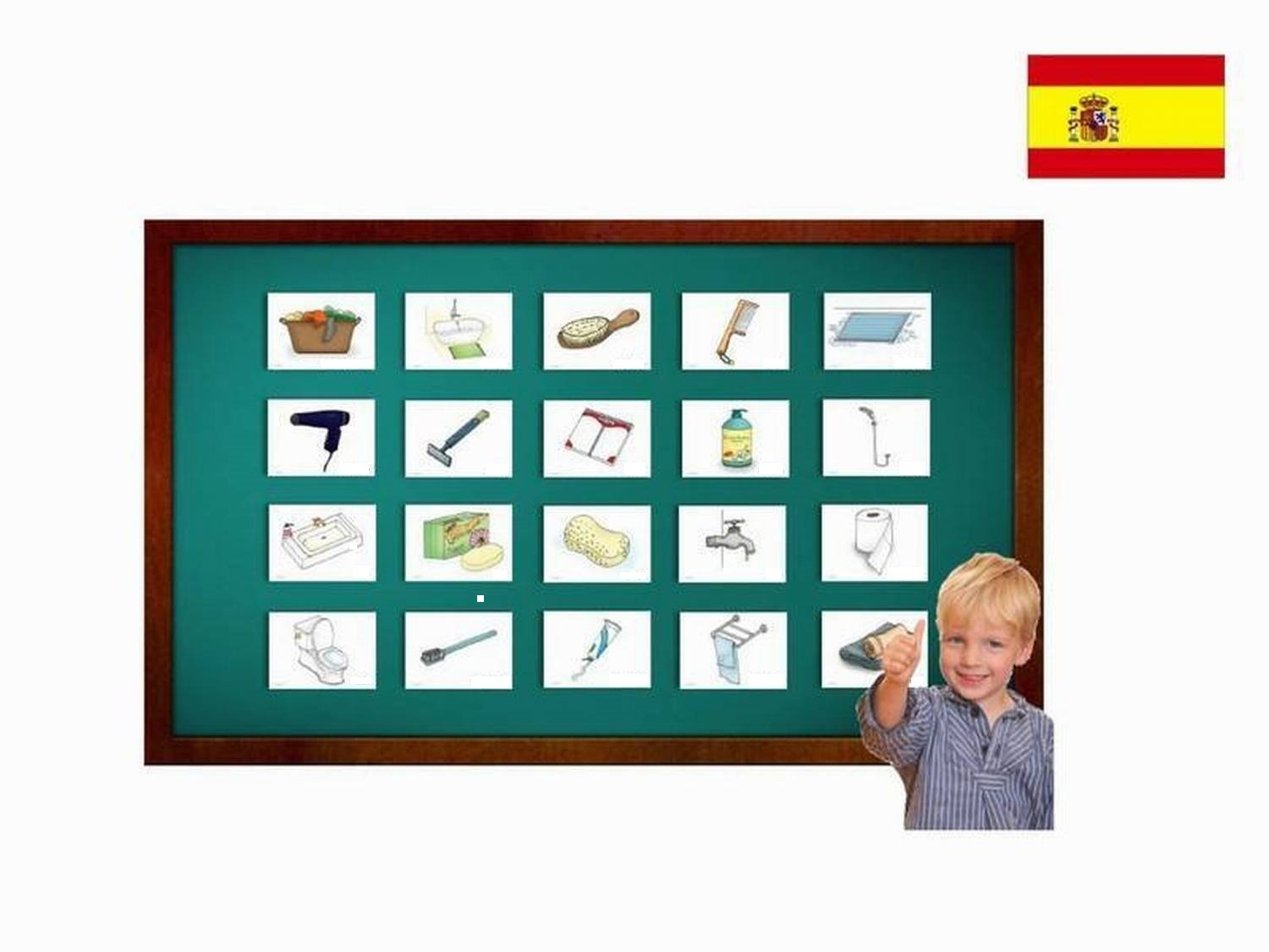 Amazon.com: Tarjetas de vocabulario - El baño - Spanish Bathroom and Body Care Flashcards - Vocabulary Picture Cards for Language Learning: Toys & Games