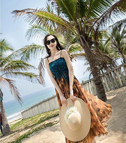 Dress Mousseline Jaune Dd Robe L Top Imprimée Plage Bohemian Soie Couleur Taille Tube De Le En Bleu Halter Maxi w7Fzw4Rq