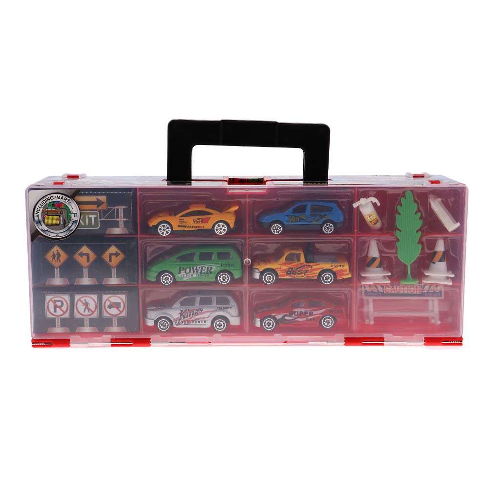 Flameer 合金 ミニカー ダイカスト おもちゃ 車 模型 車 レーシング 収納 オーガナイザー ボックス B07GWF71PD