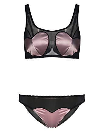 2e3b3ea7f3 Wink Gal Women s Sexy Lingerie Set See Through Mesh Bralette Top Vest with  Panty at Amazon Women s Clothing store