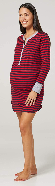 Damen Umstands Streifen Nachthemd mit Stillfunktion Langarm 589p HAPPY MAMA