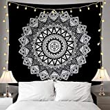 """Home Tapestry, Black and White Mandala Tapestries, Wall Hanging Tapestry Home Decor for Living Room Bedroom Dorm Room Beach Picnic Mat(W:59"""", H:58"""")"""