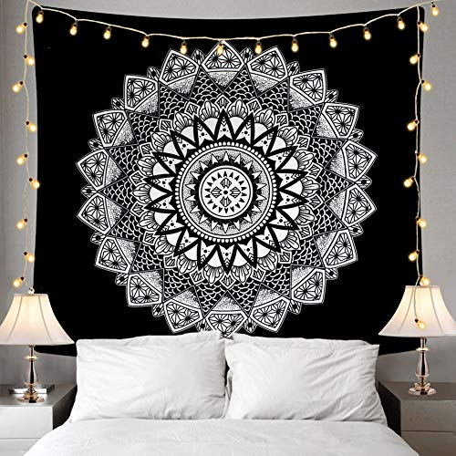 Home Tapestry - Ucio Home Tapestry, Black and White Mandala Tapestries, Wall Hanging Tapestry Home Decor for Living Room Bedroom Dorm Room Beach Picnic Mat(W:59