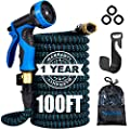 """Anguslvy Garden Hose 50ft/100ft Expandable Water Hose with Durable 3-Layers Latex,3/4"""" Solid Brass Connectors,Flexible Leakproof Hose with 9 Function Spray Nozzle&Plastic Holder for Watering/Washing"""