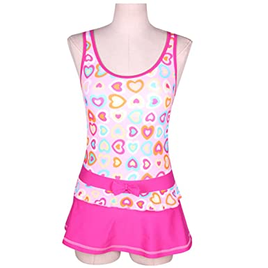 8d8c1119bb6e9 Amazon.com: Girls Swimwear Junior Skirted Bathing Suit One Piece Swimsuit  Bathers Skirt: Clothing