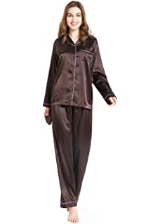 Silky Satin Pajamas for Women, Long Button-Down PJ Set with Mask