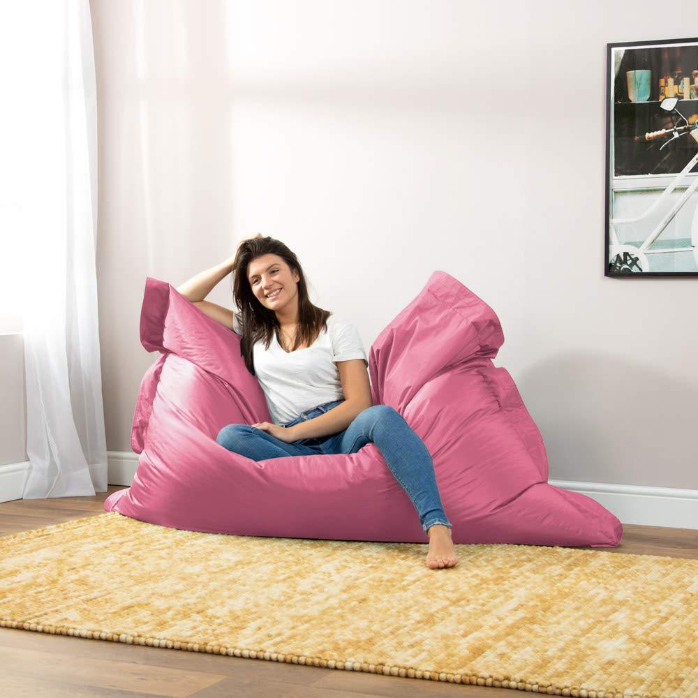 Bean Bag Bazaar Bazaar Bag - Brezo Rosa, 180cm x 140cm, Puf Gigante para Interiores y Exteriores – Puff Enorme, Ideal para Usar en el Hogar y el ...