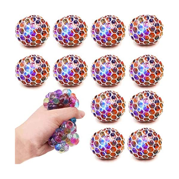 Boys and Adults 12 PCS Mesh Squishy Balls,LED Grape Squeeze Balls Squishy Toys Anti-Anxiety Bulk/Toys,Hand Exercise Balls Relieve Pressure Balls Sensory Fidget Toys,Stress Relief Ball for Girls