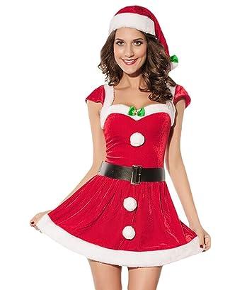 Baymate Donna Babbo Natale Cosplay Costume Carnevale Partito Vestito  (Vestito+Cappello+Cintura)  Amazon.it  Abbigliamento 1dbc774c1e4