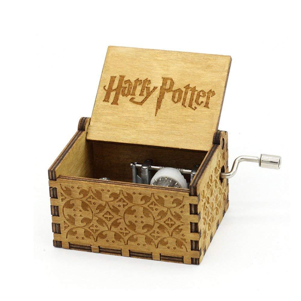 Meiion Premier Boîte à musique, Game of Thrones Classic DIY gravé en bois Boîte décorative cadeaux de Noël Pure main-classique Star Wars boîte à musique (Harry potter)