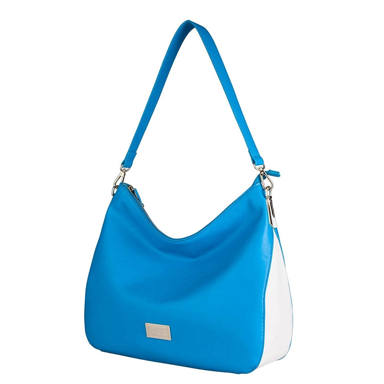 La Cl茅 LA-016Contrast Color Structured Medium Zipper Tote Handbag Leather Purse