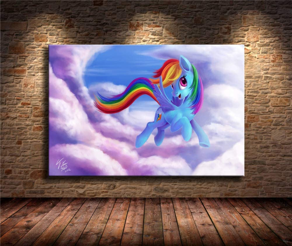 Hot Selling Home Decor Print Oil Painting on Canvas Wall Art, Rainbow Dash, My Little Pony (8x12inch-Framed/Ready to Hang)