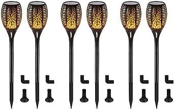 2 St/ück Solarleuchte Garten IP65 wasserdicht Solarlampe Gartenfackeln mit realistischen Flammen Automatische EIN//Aus Au/ßen warmlicht Mengjay LED Solar Flammenlicht