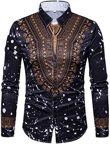 WHATLEES Mens Hipster African Tribal Dashiki Long Sleeve Slim Fit Casual Button Down Dress Shirts Tops (Tribal Button Down Shirt)