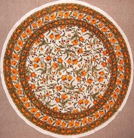 French Floral Tablecoth 70 Inch Round - Olive and Saffron