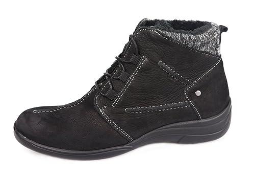 Botines cómodos con Plantillas extraibles. Color Negro con Velcro. Ideal para pies delicados y Anchos Especiales. Bota con caña Ancha para Plantillas ...