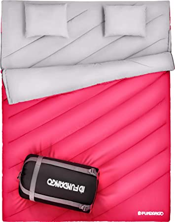 FUNDANGO Double Sleeping Bag 2 Person Sleeping Bags for Adults Envelope Compact Waterproof Warm Season Cool Weather Extreme 4 Degree for Camping Backpacking Hiking Oversize XL with Carry Bag 2 Pillows