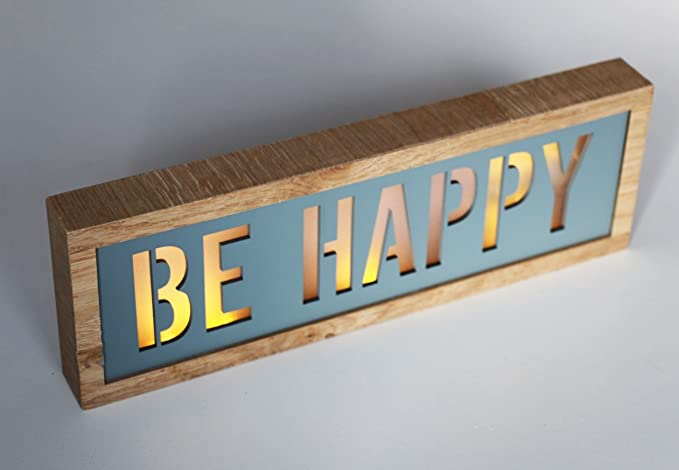 LED Lightbox Madera - Be Happy - Marrón Gris Azul Bombilla ...