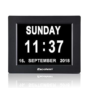 Calendrier 1977 Avec Les Jours.Excelvan Dc8001 Horloge Calendrier Avec Date Jour Et Heure En Francais 8 Pouces Lcd Horloge Numerique Non Abregee Auto Dimming Pour Senior Alzheimer