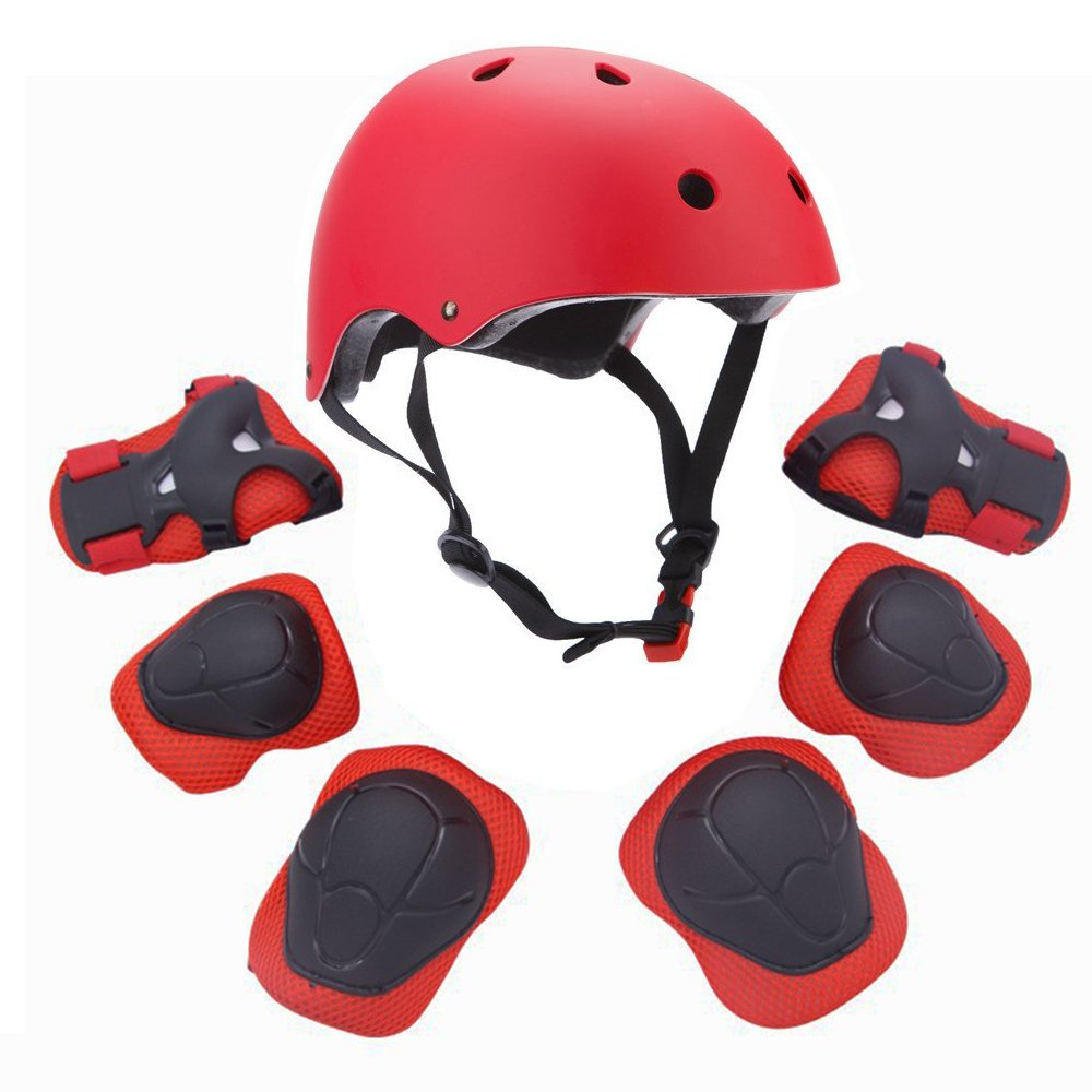 F&U Kids Youth Sports Protective Gear Set with Helmet Elbow Knee Wrist Safety Pad Safeguard for Rollerblading Bicycle BMX Bike Skateboard and other Extreme Outdoor Activities (Red)