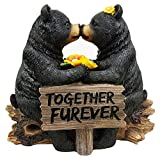 "7"" Tall Romantic Black Bear Couple In Courtship By Wooden Log Decorative Figurine"