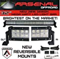 "#1 32"" Arsenal Offroad LED Light Bar 30"" of LED's Flood/Spot Combo Beam-MEGA WATT 3w LED's 180w 18,000 Lumen, Off Road, Polaris RZR, UTV, Trucks, Raptor, Jeep, Bumper Rock, FREE LED Light Rocker Sitch Kit with Wire Harness"