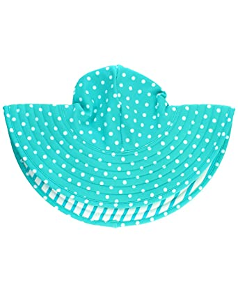 64f633cec63 RuffleButts Baby Toddler Girls Aqua Polka Dot and Aqua Stripe Reversible  Swim Hat - 0