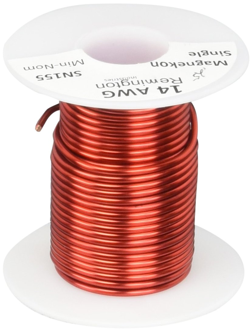 Remington Industries 14SNSP.25 14 AWG Magnet Wire, Enameled Copper Wire, 4 oz, 0.0655' Diameter, 20' Length, Red