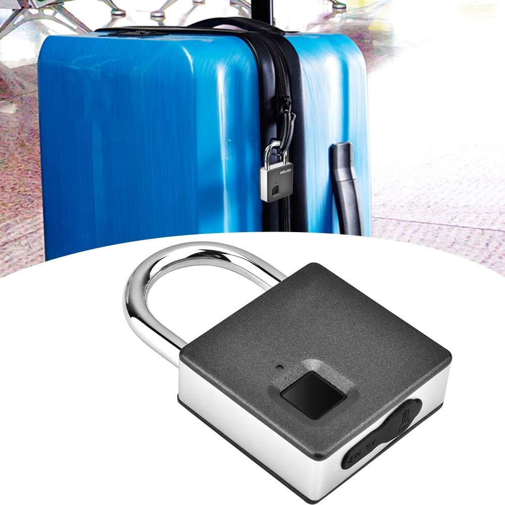 #2 Lucchetto allaperto biometrico Portatile dellAcciaio Inossidabile Adatto a Sicurezza allaperto della Scuola del Lucchetto della Porta del dormitorio Lucchetto astuto dellimpronta Digitale