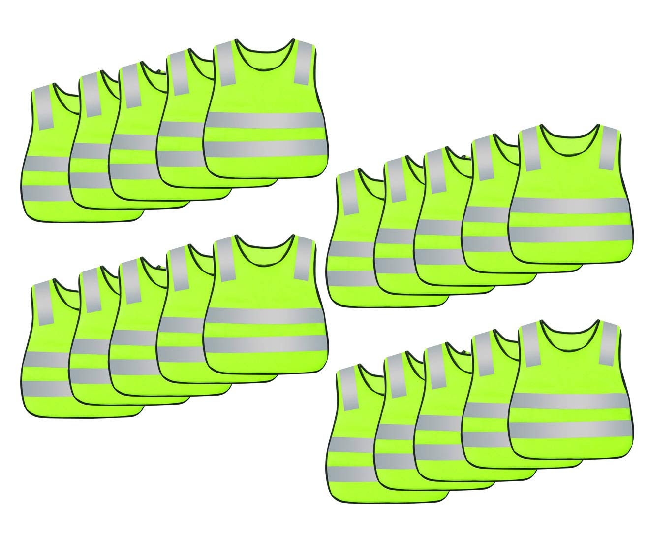 Kids Safety Vest Reflective High Visibility Vest Breathable Traffic Vest Costume Construction Vest Elastic Strap Safety Vest Neon Yellow Purpose for Running Cycling Jogging 20PCS