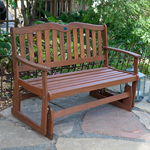 Back 4' Glider Bench (Loveseat Glider Chair in Solid Balau Wood - Outdoor Garden or Patio Furniture - 4 ft. Wide)
