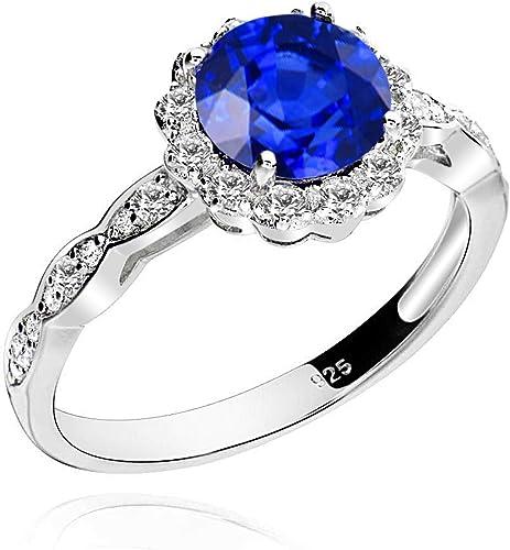 Princesse Bleu Saphir Gemme Argent sterling 925 Belle Bague Pour Femmes