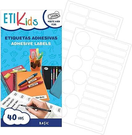 in 4 formati diversi. pennarelli e tutto il materiale scolastico. ETIKids 40 Etichette adesive multiuso con lamina protettiva Ideali per matite Color