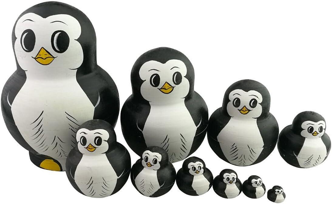 10PCS Hand Painted Cute Penguin Wooden Russian Nesting Dolls Matryoshka Toy