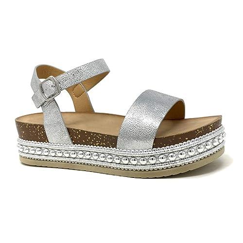 Mule Chaussure Femme Brillant 5 Cm Sandale Mode Plateforme Grainé Liège Angkorly Cheville Compensé Talon Lanière IH9ebYWED2