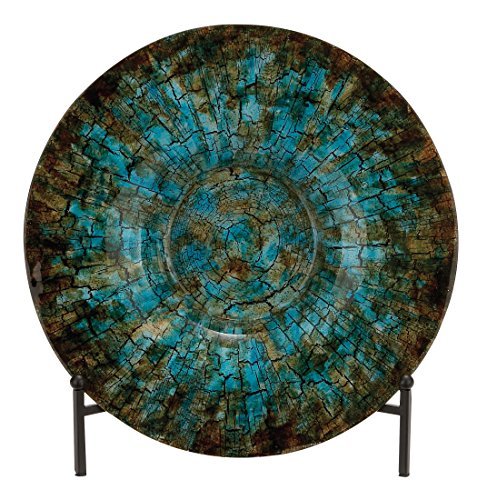 Deco 79 Traditional Round Cracked Design Glass Decorative Charger Plate with Stand, 18