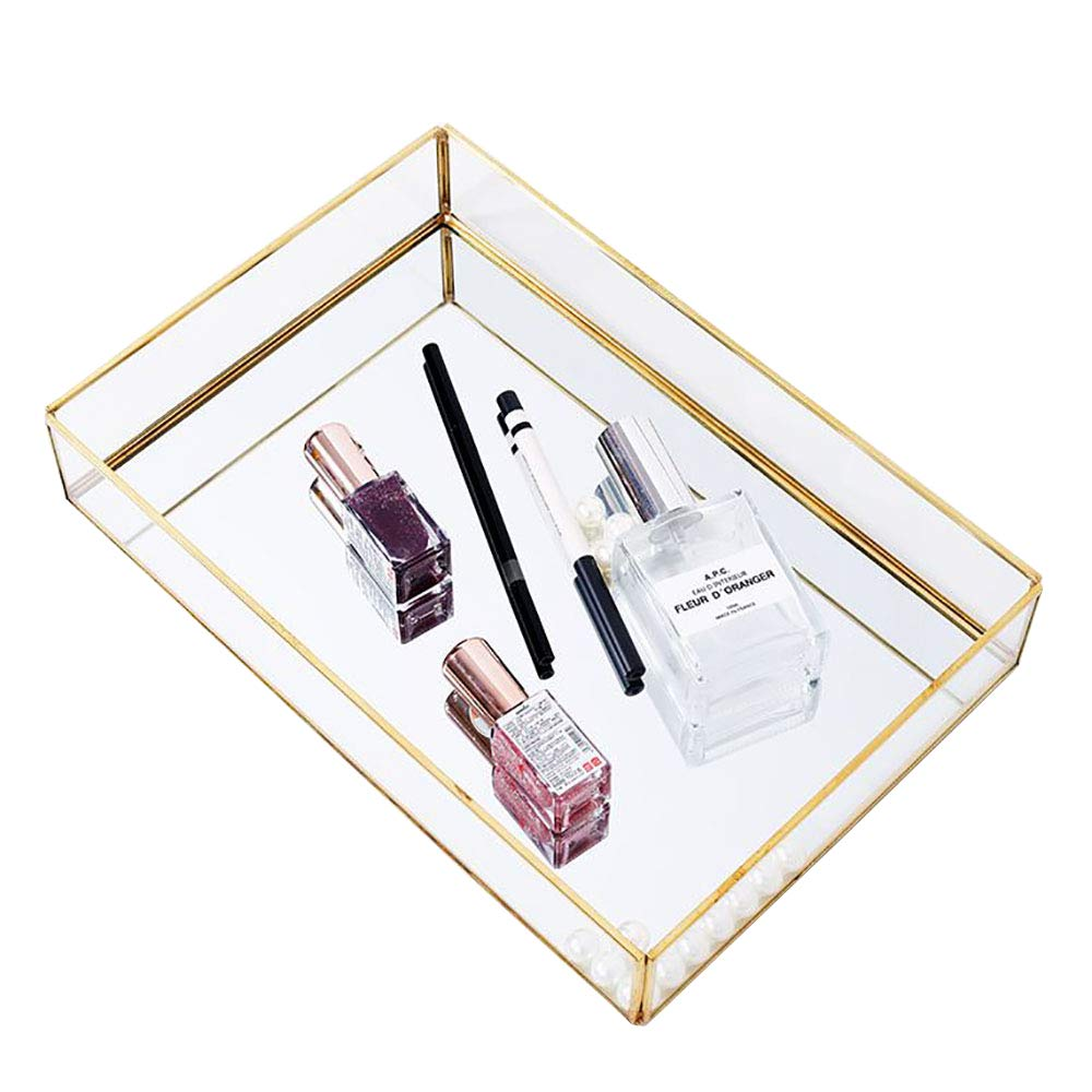 Decorative Metal Mirror Catchall Tray, Glass Vanity Tray, Dresser Tray, Jewelry Display Tray, Vanity Organizer for Accent Table, Gold Leaf Finish (Rectangle)