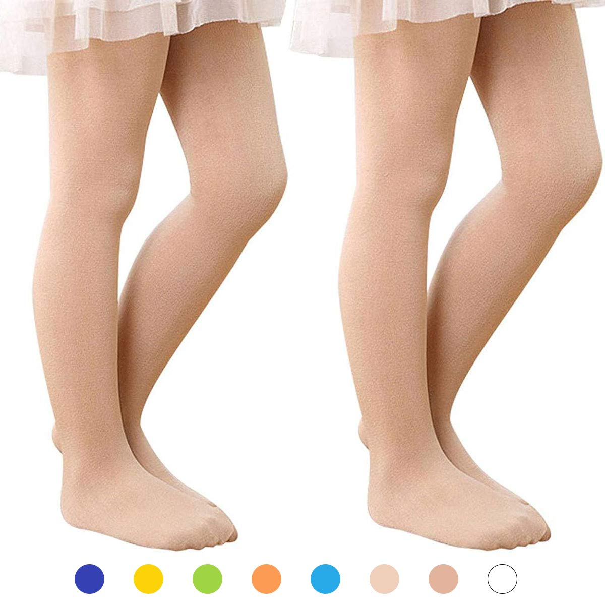 Zando Girl's Ultra Soft Pro Ballet Dance Tight Toddler Kids Footed Leggings Elastic Opaque Pants Tight 2 Pack Skin Color L