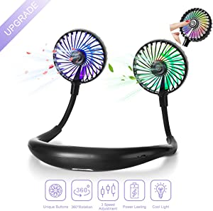 Hands Free Neck Fan, Personal USB Rechargeable Mini Portable Fan, Headphone Design Wearable Neckband fan with 360° Rotation, 3 Adjustable Speeds&LED Lighting, Cooling Indoor and Outdoor Comfort, for Travel Office Home Sports
