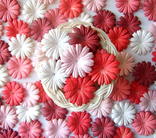 Pastel Yellow Daisy (ICRAFY Assorted Daisy Flower Mulberry paper Pastel Color ,Red Color, Die cut 100 Pcs. Size 1