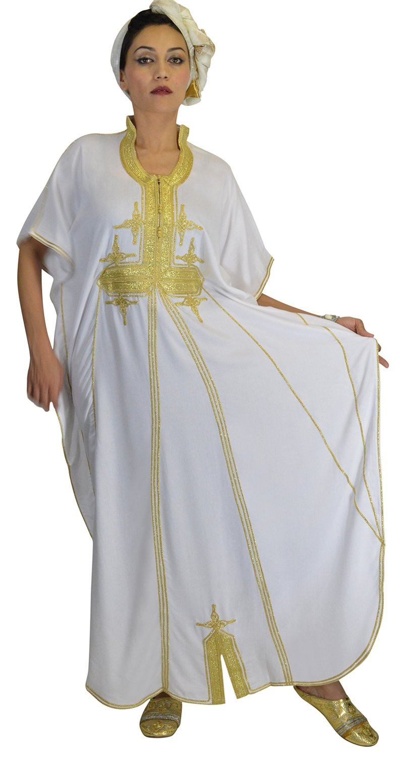 Moroccan Caftans Women Butterfly Hand Made with Gold Embroidery Long One Size White