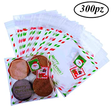 Gudotra 300pcs Bolsitas Caramelos Plástico Celofán Autoadhesivas Bolsas Galletas para Regalo Dulces Fiesta Navidad Cumpleaños(10×10cm) (Estilo-3)